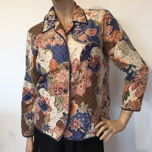 Alfred Dunner Silk Quilted Floral Jacket 10 P L
